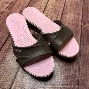 CROCS Brown & Pink Platform Wedge Sandals